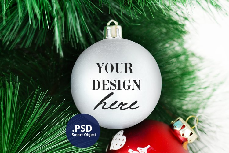 White Bauble Mockup, Round Christmas Ornament Mock up PSD example image 1
