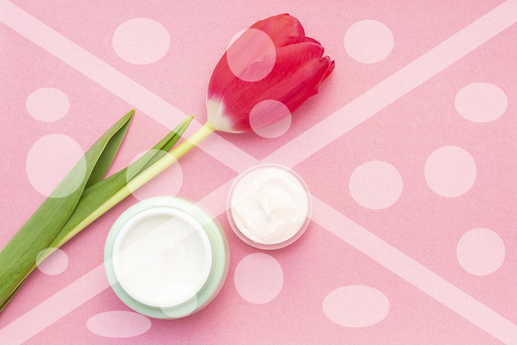 Spring skin care. Tulip and jar of cream on a pink backgroun example image 1
