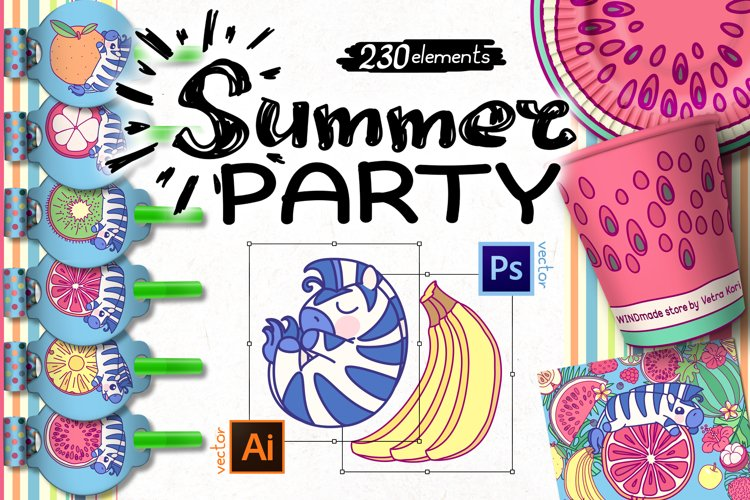 vector set Summer Party with zebra