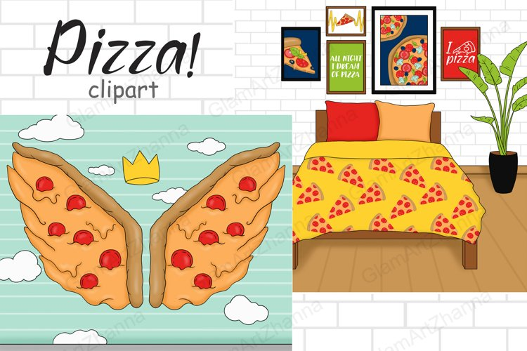 Pizza SCENE Food Party Cooking Kitchen Baking Art - PNG example image 1