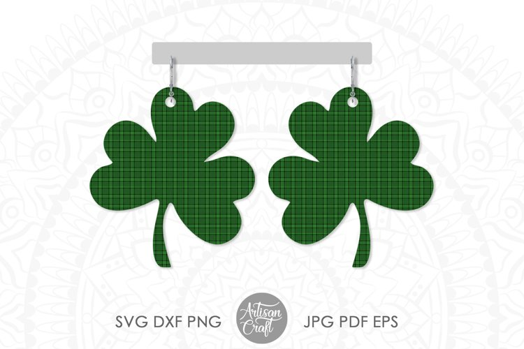 Clover earrings, St Patrick's day earrings, SVG cut file example 3