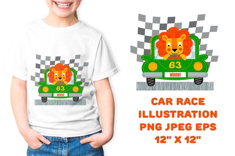 Car race illustration. Children Sublimation Design