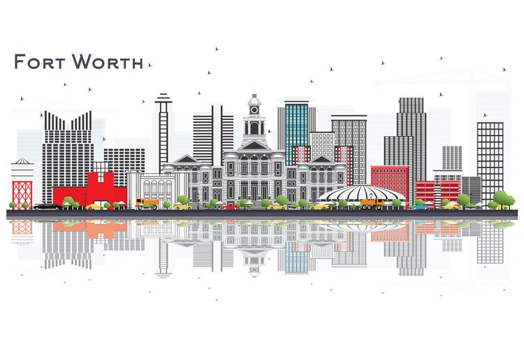 Fort Worth USA City Skyline with Gray Buildings example image 1