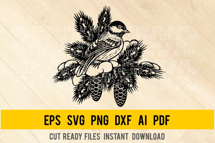Titmouse Bird SVG - Winter Bird svg Wildlife Stencils PNG