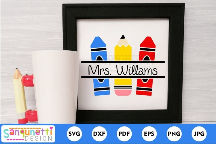 Pencil and crayon split SVG, back to school SVG