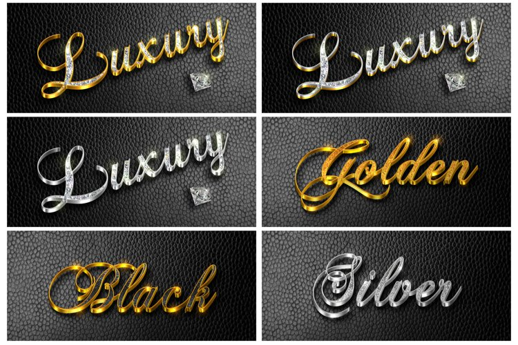 6 style 3d Luxury text effect or logo mockup for photoshop