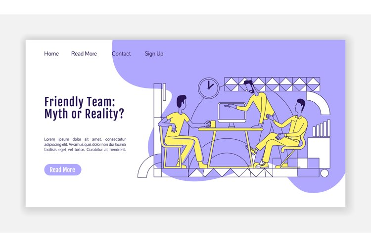 Friendly team landing page flat silhouette vector template example image 1
