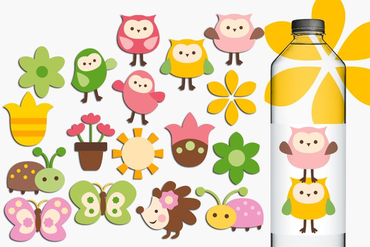 Owls and flowers clip art illustrations