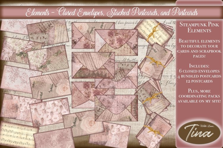 Pink Steampunk Closed Envelopes Stacked Postcards Elements