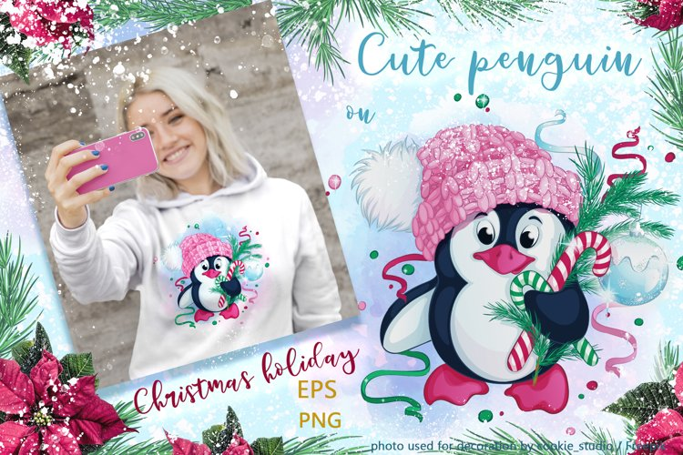Cute penguin and Christmas. Winter holiday character. example image 1