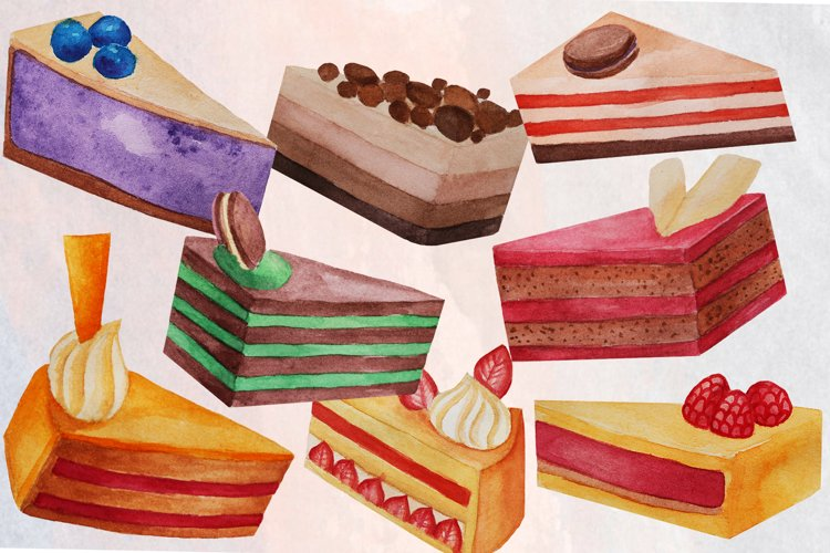 Cake Slices Watercolor Clip Art example image 1