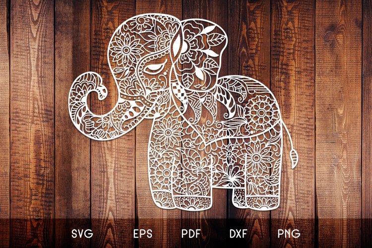 Baby Elephant SVG - Floral Mandala Elephant SVG example image 1