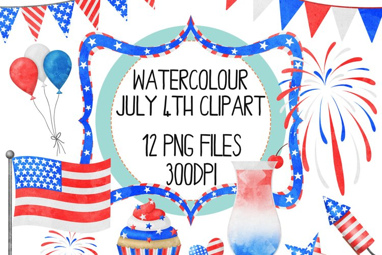 Watercolor July 4th Clip Art Set example image 1