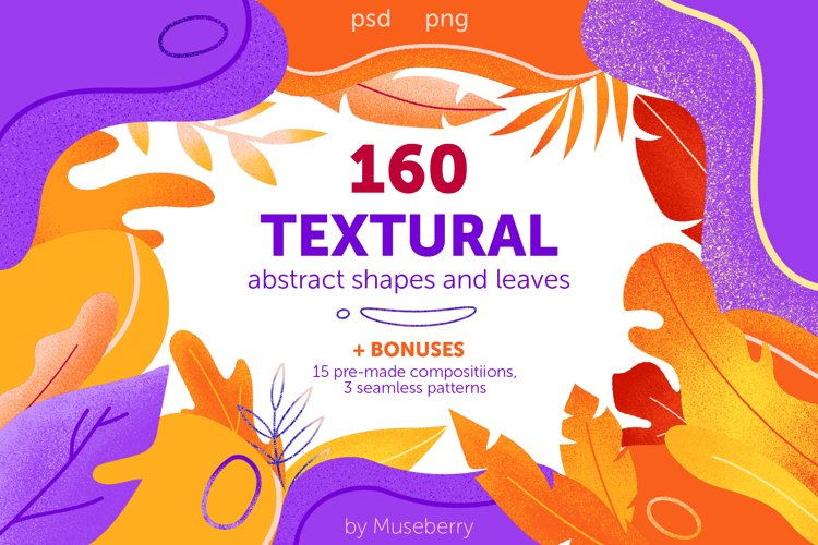 Textural abstract shapes and leaves example image 1