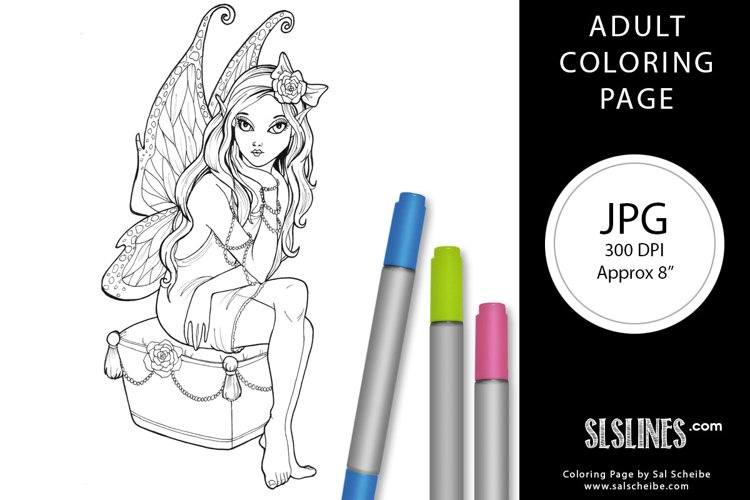 Pretty Fairy with Wings Adult Coloring Page JPG