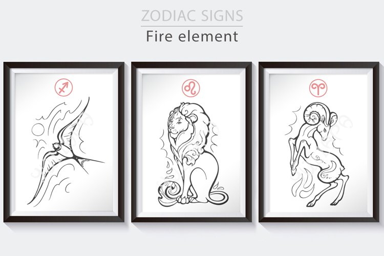 Zodiac signs collection, Fire signs, horoscope vector art example image 1