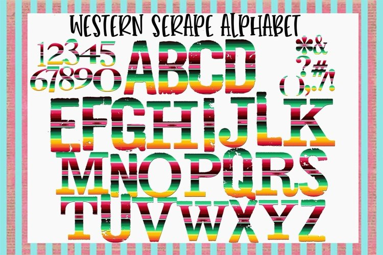 Western Serape Alphabet Sublimation Digital Download example image 1
