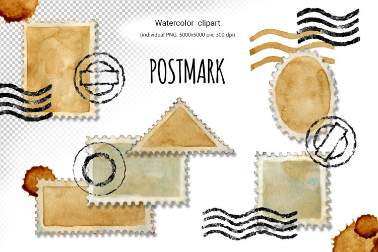 Postage stamp, postmark, watercolor clipart, envelope design example image 1