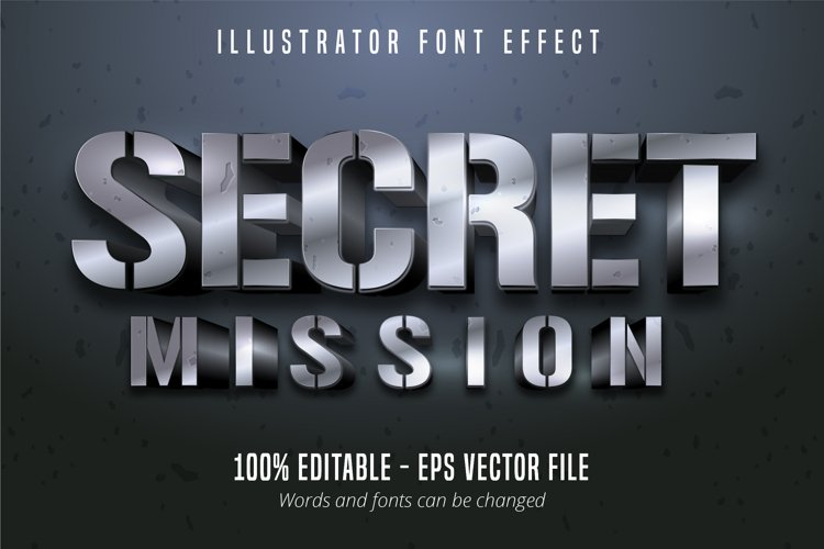 3d silver metallic style editable font effect example image 1