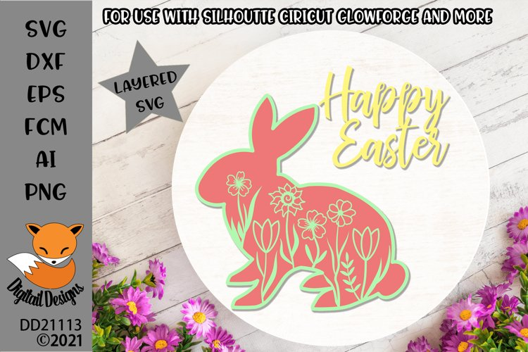 Layered Floral Easter Bunny SVG For Paper Cutting/Glowforge