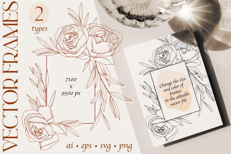 Line art flowers vector frames, sublimation, peony, olive