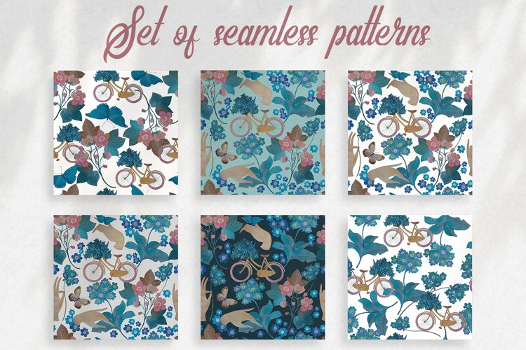 Pattern with bicycle and flowers example image 1