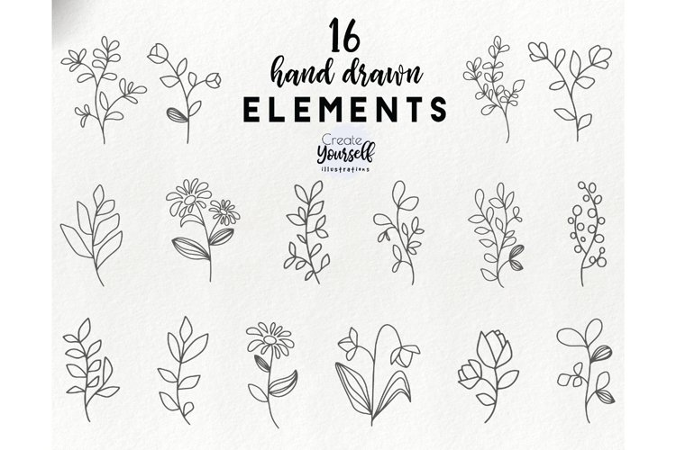 Hand drawn floral elements - botanical leaves clipart example image 1