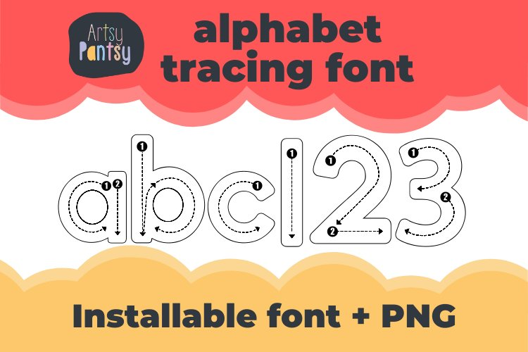 Artsy Alphabet Tracing - Alphabet Letter Tracing Font Letter example image 1
