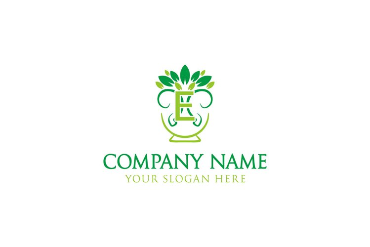 initial logo E leaf healthy tree example image 1