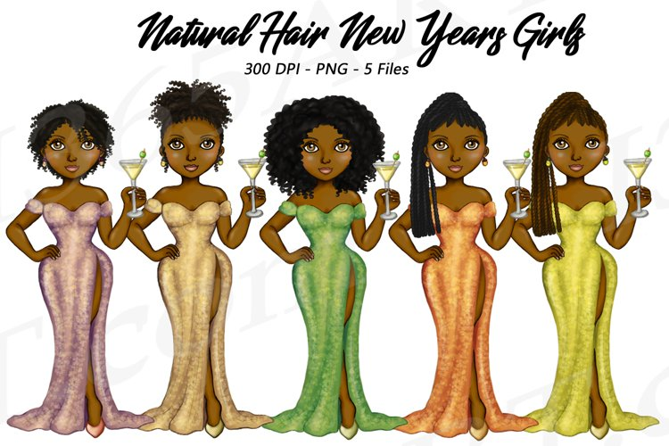 New Years Natural Hair Clipart, Fashion Girls Illustrations