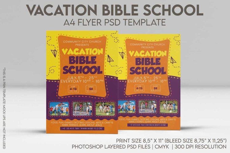 Vacation Bible School A4 Flyer PSD Template example image 1