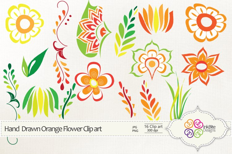 Hand Drawn Orange Flowers Clipart