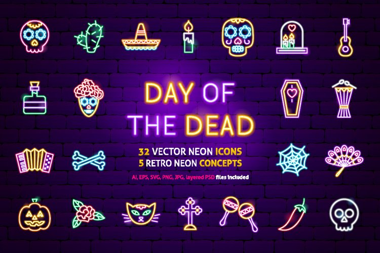 Day of the Dead Neon example image 1
