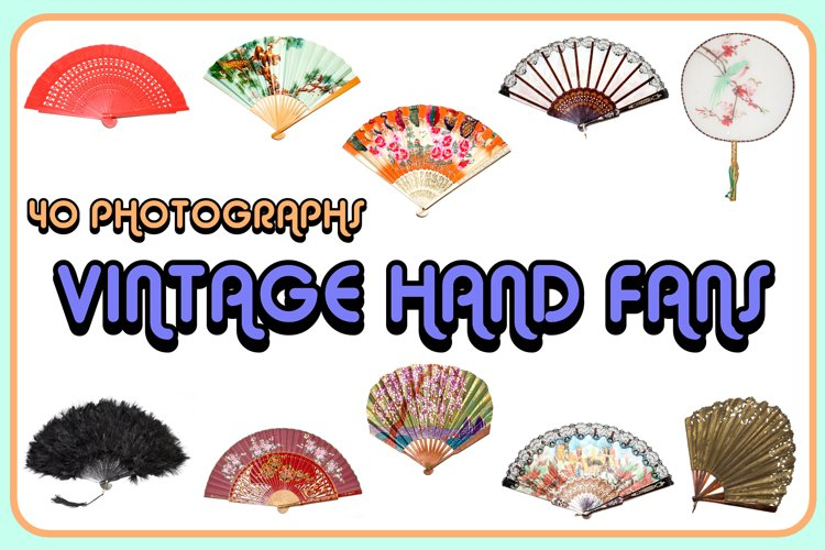 40 JPG Photographs of Vintage Retro Hand Fans SVG EPS example image 1