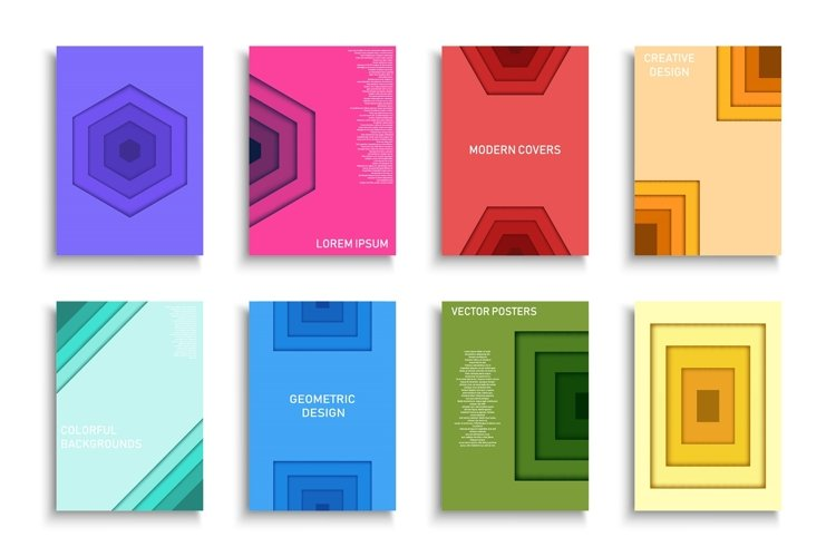 Geometric colorful posters, cards