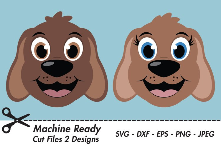 Cute Dog SVG Cut Files, PNG dog clipart, happy puppy face example image 1