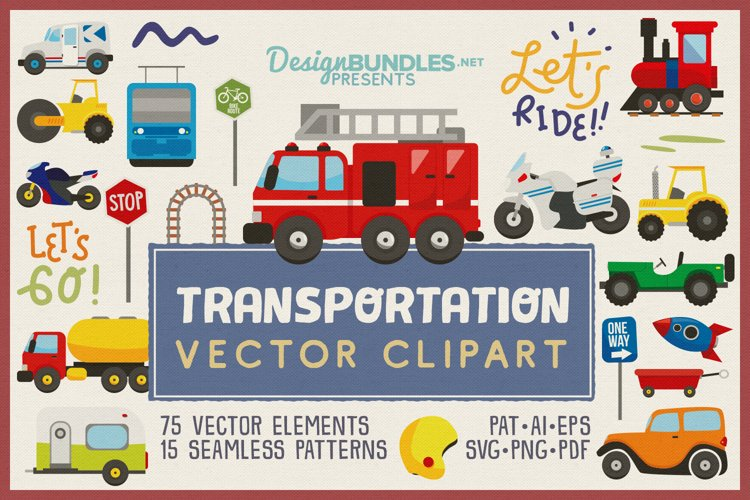 75 Transportation Vector Clipart   Seamless Patterns
