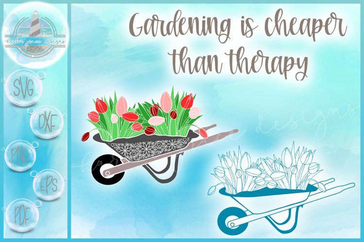 Tulips In Wheelbarrow Mandala Gardening Quote SVG example image 1