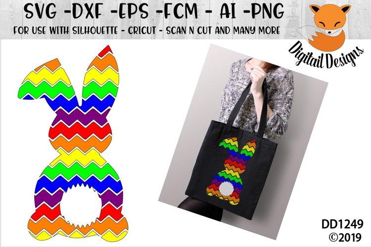 Rainbow Chevron Easter Bunny SVG Cut File example image 1