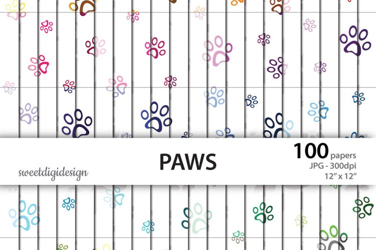 Color paws seamless pattern example image 1