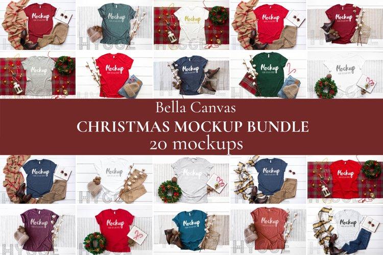 Christmas Tshirt Mockup Bundle Bella Canvas 3001 3005 3413 example image 1