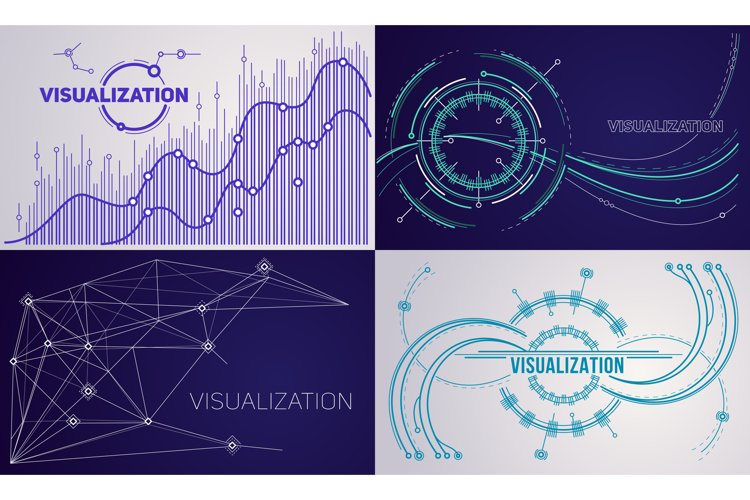 Visualization banner set, outline style example image 1