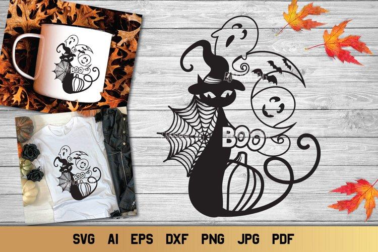 Halloween SVG Black Cat | Spider Web SVG | Ghost SVG