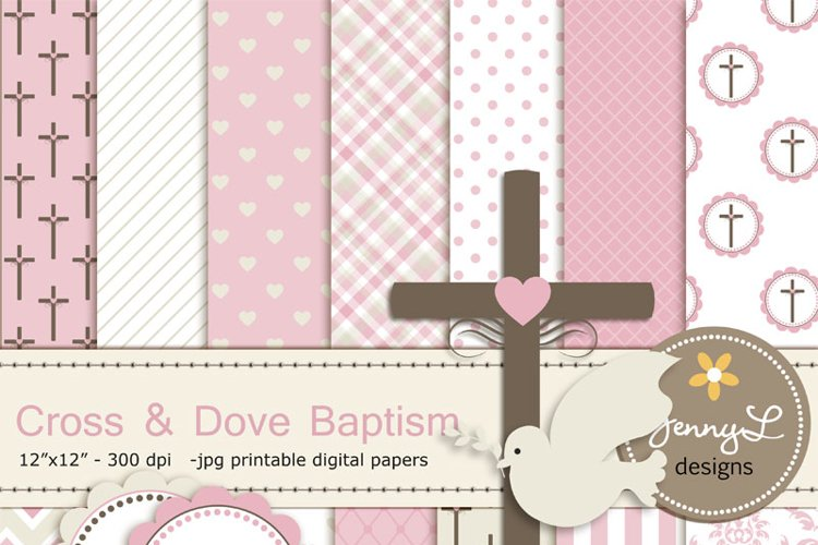 Girl Baptism Digital Papers, Cross Dove Clipart, example image 1