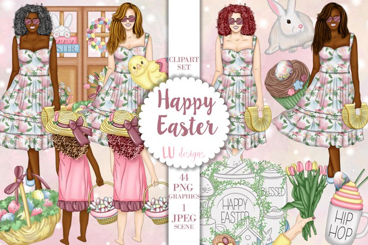Easter Clipart, Easter Eggs Graphics, Fashion Girl Clipart