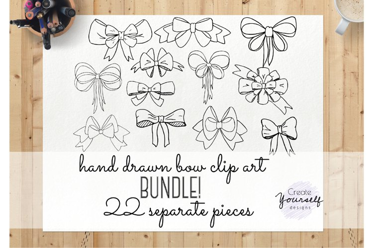 Handdrawn bow clipart set - doodle ribbon clipart example image 1