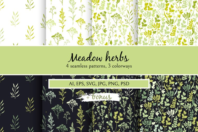 Meadow herbs pattern collection