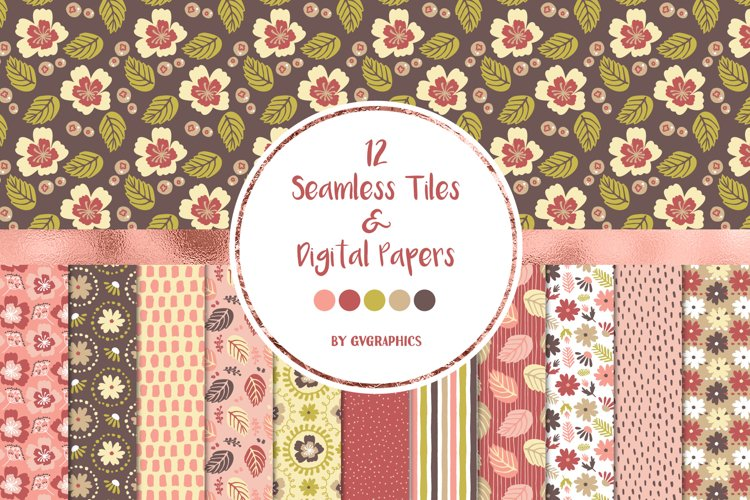 12 Flowers and Leaves Seamless tiles and Digital papers example image 1