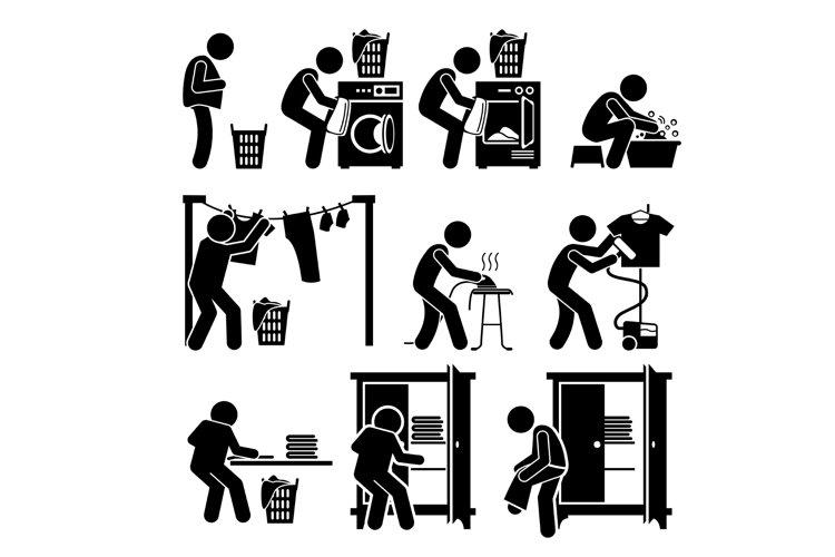 Laundry Works Washing Drying Folding Ironing Clothes Icons example image 1