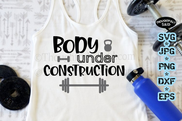 Workout Gym SVG - Body Under Construction - jpg png dxf eps example image 1